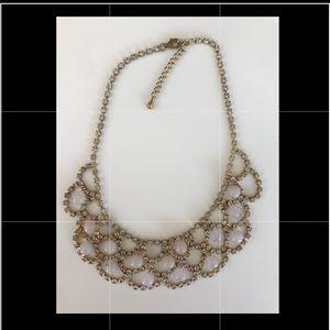 Rhinestone scallop bib statement necklace vintage